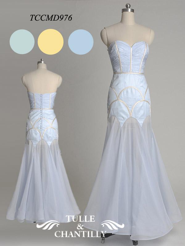 Full Length Water Blue Chiffon Bridesmaid Dress TCCMD976