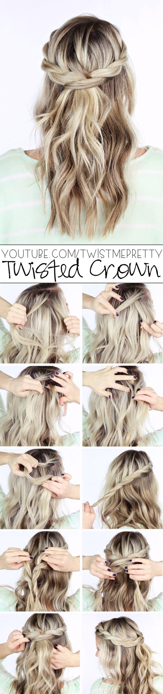 DIY twisted braid crown wedding hairstyle