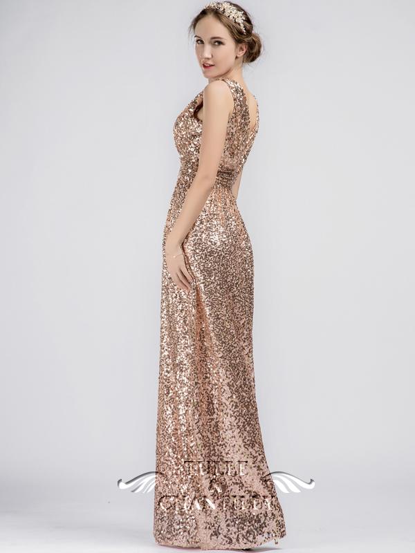 Bronze Gown Long Sleeve Dresses