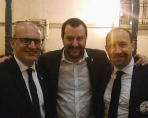Tullio Patassini e Matteo salvini durante la sua visita nelle Marche