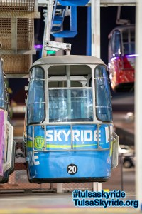 Tulsa Skyride: Here is a cabin during the 2017 Tulsa State Fair with another of the new wrap designs.