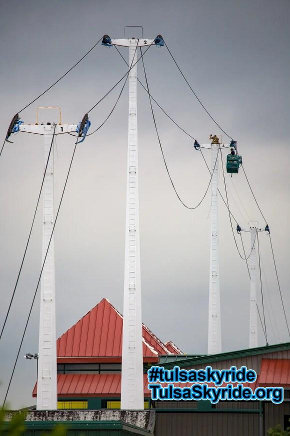Tulsa Skyride, August 2008: Doppelmayr technicians install a new control system.