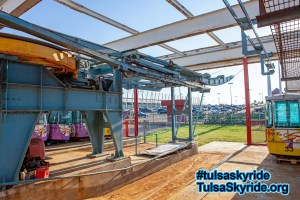 Tulsa Skyride: the eastern station gets a new roof in 2010.