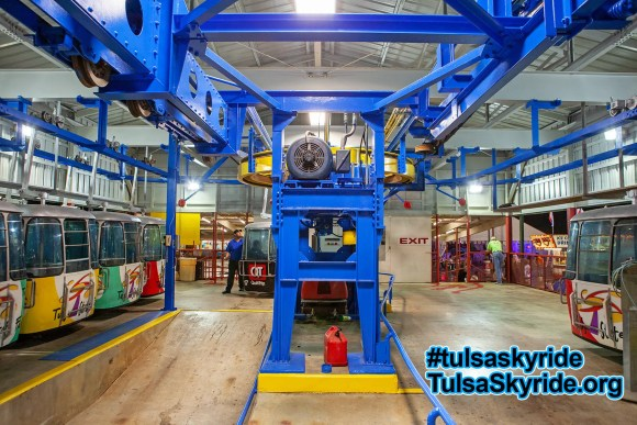 Tulsa Skyride: interior of eastern station with new roof and paint.