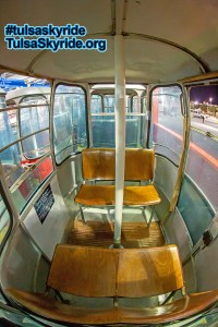 Tulsa Skyride: interior of two-bench Gangloff cabin.