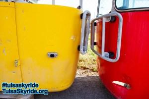 Tulsa Skyride: two Gangloff cabins prior to restoration
