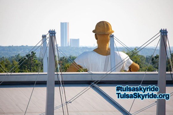 View from the Tulsa Skyride: looking over the Golden Driller's shoulders.