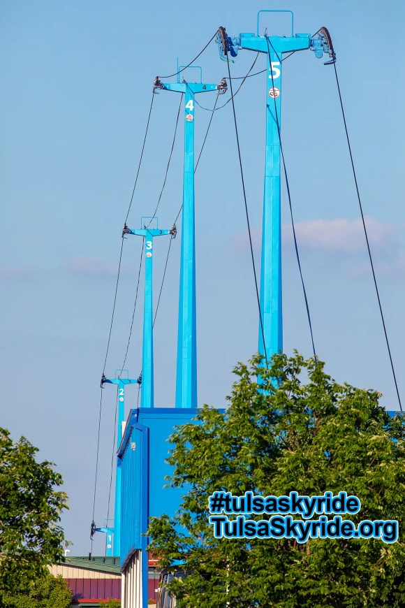 Tulsa Skyride: all five all-blue towers in 2018