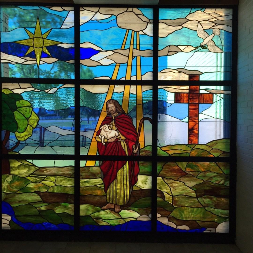 Tulsa Hills Baptist - Jesus holding lamb stained glass
