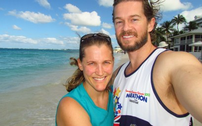 Cayman Islands Marathon Post Race Beach Photo of Couple