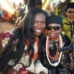 Chinedu 'AKI'  Ikedieze(R) tied the knot,the traditional way,with Nneoma Nwaijah (L)