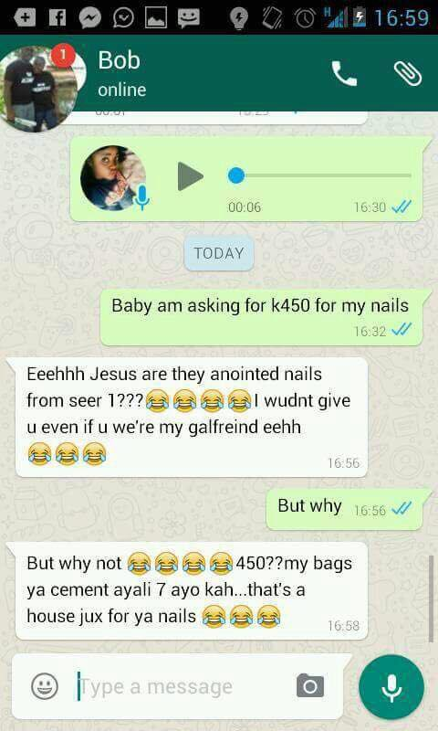 Hilarious: See The Response A Zambian Girl Gets After Asking Her Man For K450!