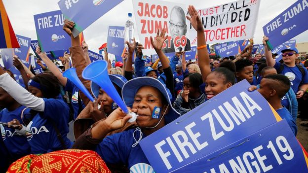 South Africans March Against Zuma