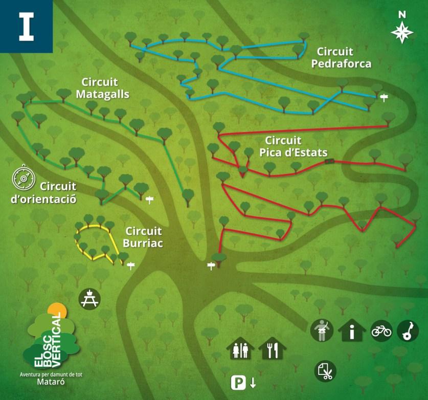 Mapa de los circuitos del parque de aventura Bosc Vertical