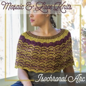 A poncho combining slip stitch colorwork and lace.