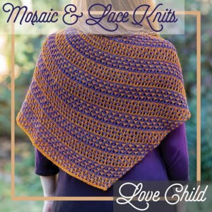 A shawl combining slip stitch colorwork and lace.