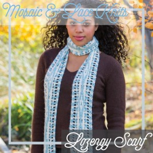 A scarf with mosaic colorwork and lace.