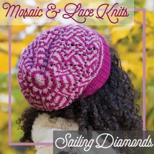 A hat combining slip stitch colorwork and lace.