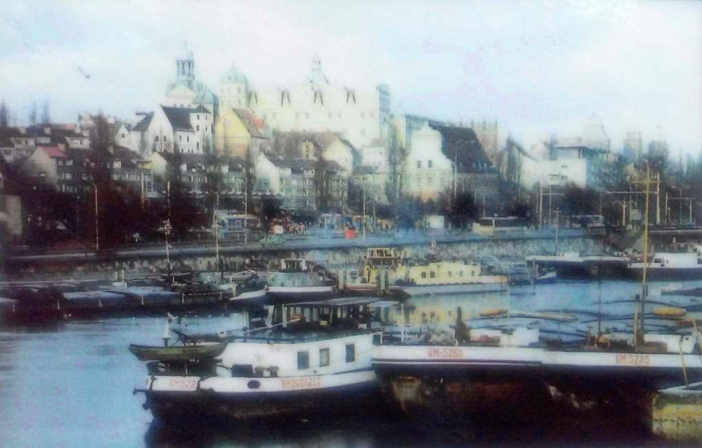 Port w Szczecinie i statek Bydgoszcz na starej widokówce