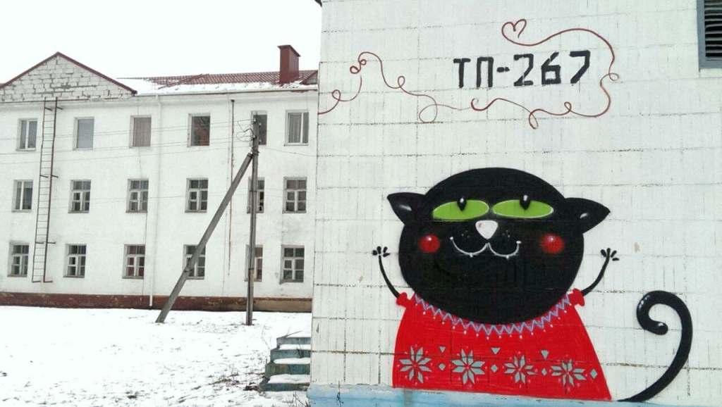 Cat kot cats Katze кот кіт gatto murales Baranowicze Białoruś Білорусі графіті
