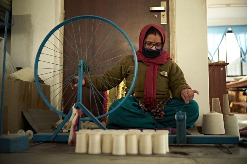 ネパールのカシミア工房
