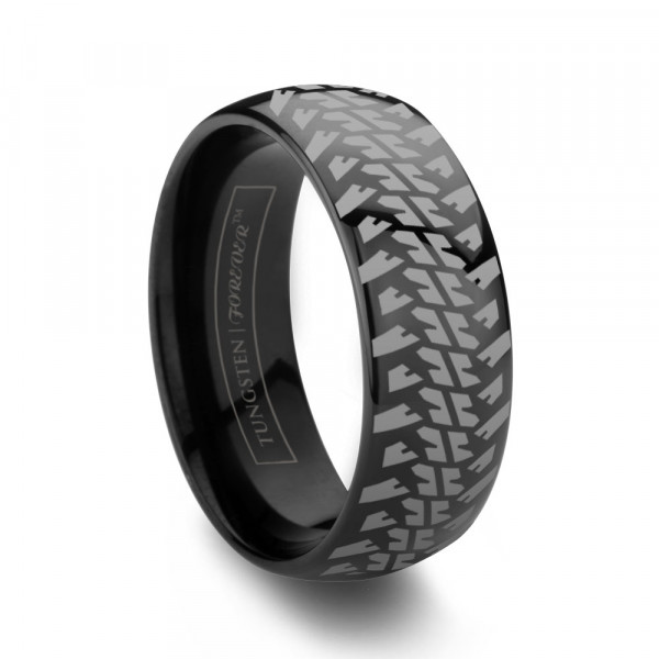 6mm 8mm Domed Tire Tread Black Tungsten Wedding Band