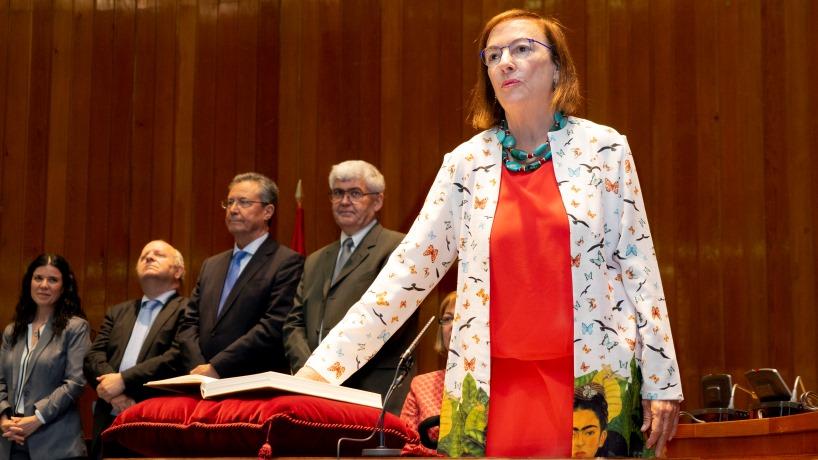 Carmen Orte durante la toma de posesión