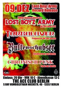 Flugblatt für das Turbolover-Konzert im ACE-Club am 09.12.2011