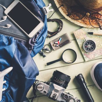 Overhead view of Traveler's accessories and items