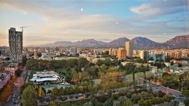 Vista della città di Tirana, Albania