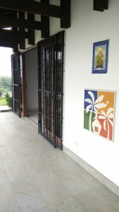 Our front entrance with our hand painted tiles with our Logo
