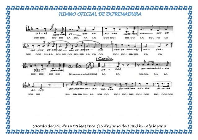 Himno oficial de Extremadura partitura del BOE