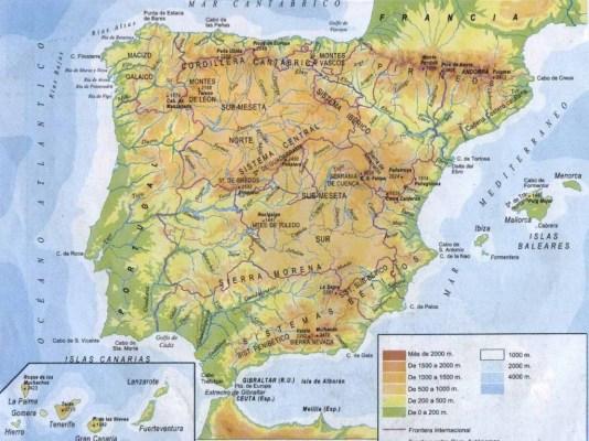 Mapa Fisico de España 2