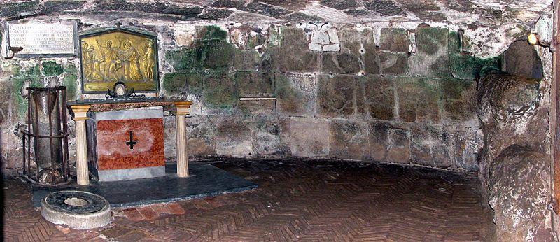 El altar de la celda inferior Cárcel Mamertine Roma
