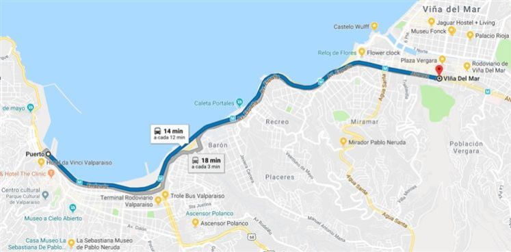 mapa vina valpo 1 O que fazer em um roteiro de um dia em Viña del Mar