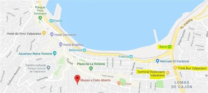 mapa valparaiso 1 Bate e Volta de Santiago: Arte de rua em Valparaiso