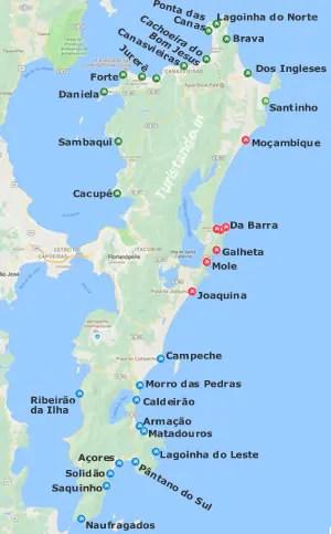 mapa das praias de Floripa Turistandoin Todas as praias de Florianópolis