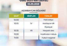 """""""Dərs vaxtı""""nın 3 sentyabr cədvəli"""
