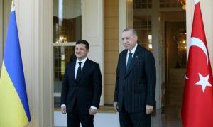 Ukrayna Prezidenti Vladimir Zelenski və Türkiyə Prezidenti Rəcəb Tayyib Ərdoğan