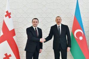 Prezidenti İlham Əliyev və Gürcüstanın Baş naziri İrakli Qaribaşvilini