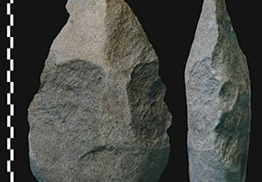 Early humans were using stone hand axes as far back as 1.8 million years ago. Photo credit: Pierre-Jean Texier, National Center of Scientific Research, France.