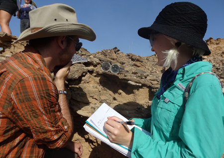 Zach and Chelsea measure strike and dip at Turkwel.