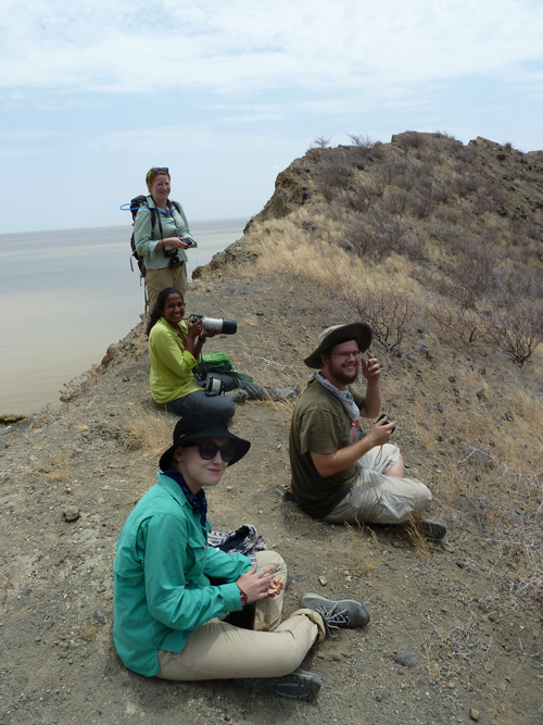 Students take in the view from the crater's rim