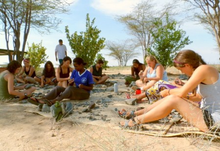 Group photo of the students knapping their tools