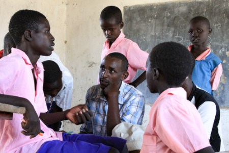 At the local school, Abdi asks the students about Doum palms.