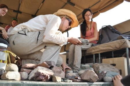 Janina and Lauren sort out the rhyolite in the truck.