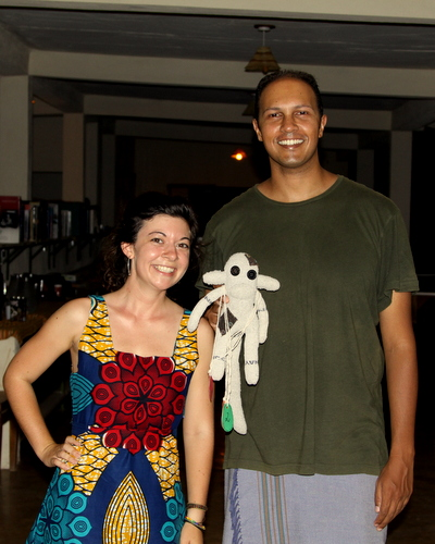 The committee - Kat and Dino - with the Olympic mascot, Kima, the sock monkey.