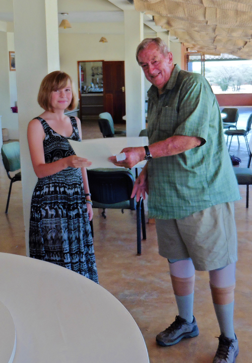 Lucy being congratulated by Dr Leakey