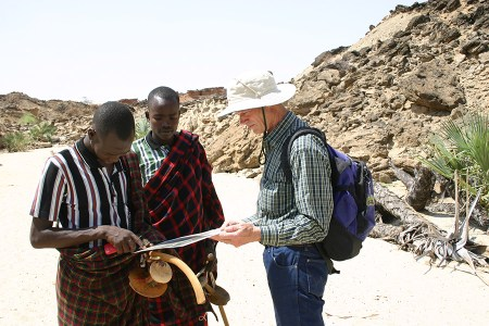 Professor Reynolds shows local Turkana a satellite image of the area.