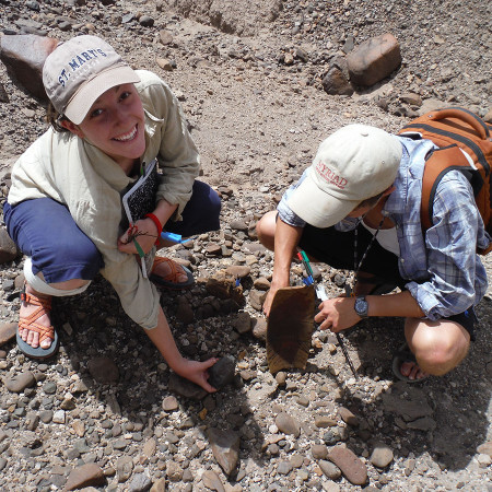 Anna and Dylan find a basalt core.